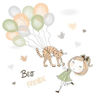Uma linda garota pega seu gato de estimação voando em balões.