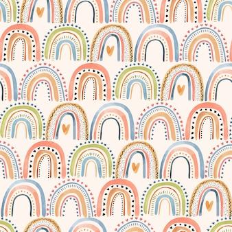 Uma linda mão em aquarela afogando o padrão sem emenda com arco-íris em tons pastel coloridos