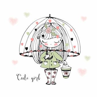 Uma linda menina com botas de borracha atravessa poças sob um guarda-chuva.