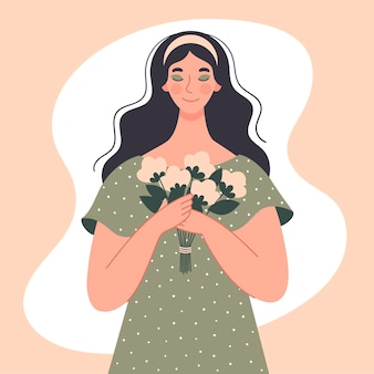 Uma linda mulher tem um buquê de flores brancas nas mãos. dia internacional da mulher, março, data, cartão de felicitações. ilustração de primavera