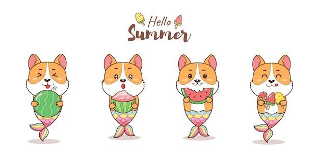 Uma linda sereia corgi comendo melancia e sorvete para desenho animado de verão