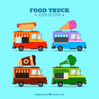 Uma linda variedade de caminhões de comida lisa
