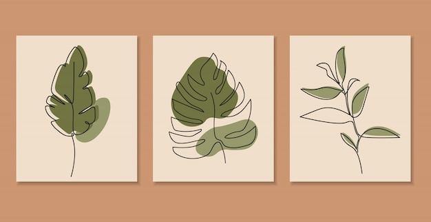 Uma linha contínua de folhas, desenho de linha única, folhas tropicais, conjunto de plantas botânicas