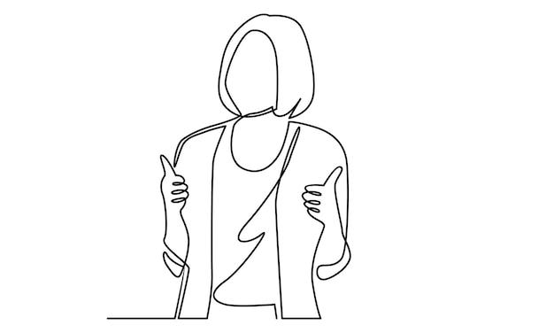 Uma linha contínua de mulher mostra a ilustração de sinal com o polegar para cima