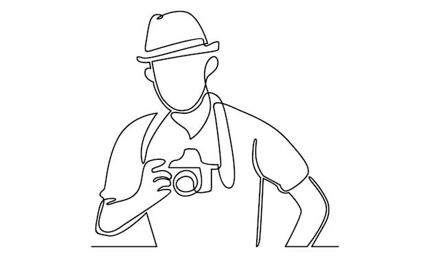 Uma linha contínua de um homem segurando uma ilustração de uma câmera digital