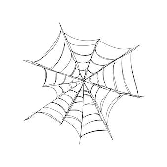 Uma linha de arte de teia de aranha assimétrica desenho de linha contínuo de tema de halloween horrível assustador
