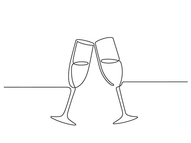 Uma linha de brinde com champanhe. copos de vinho de casal linear contínuo tilintam. vivas da festa de casamento. conceito de vetor de celebração de ano novo minimalista. champanhe de celebração de ilustração, tilintar de festa