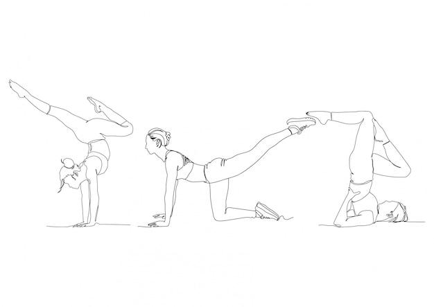 Uma linha gym yoga pose definir logotipos ilustração de estoque vector