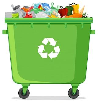Uma lixeira de reciclagem