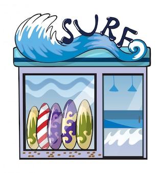 Uma loja de acessórios de surf