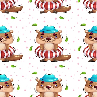 Uma lontra bonito em uma bóia de vida vai padrão