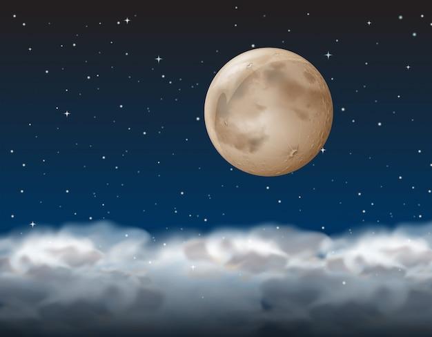 Uma lua acima da nuvem