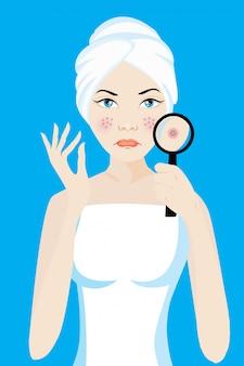 Uma lupa na mulher facial para encontrar acne