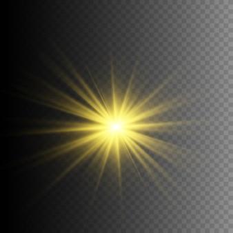 Uma luz amarela brilhante explode em um fundo transparente. partículas de poeira mágica cintilantes. estrela brilhante. sol brilhante transparente, flash brilhante. o vetor brilha.