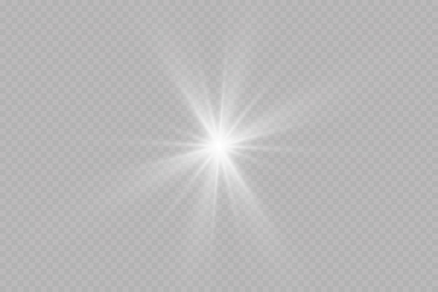 Uma luz branca brilhante explode. com raio. sol brilhante transparente, flash brilhante. o centro de um flash brilhante.