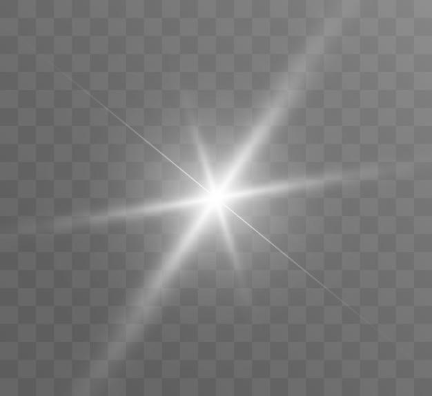 Uma luz branca brilhante explode em um fundo transparente bright star transparente brilhante sol brigue