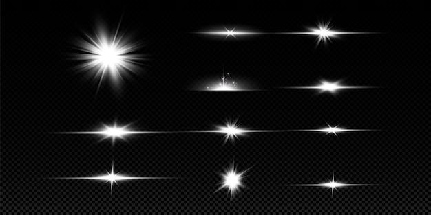 Uma luz branca brilhante explode em um fundo transparente. com raio. sol brilhante transparente, flash brilhante. efeito de luz de reflexo de lente especial.