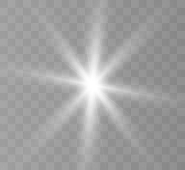 Uma luz branca brilhante explode em um fundo transparente. estrela brilhante.