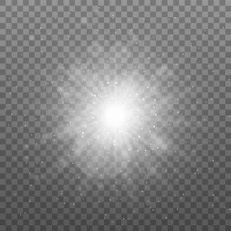 Uma luz branca brilhante explode em um fundo transparente. partículas de poeira mágica cintilantes. estrela brilhante. sol brilhante transparente, flash brilhante.