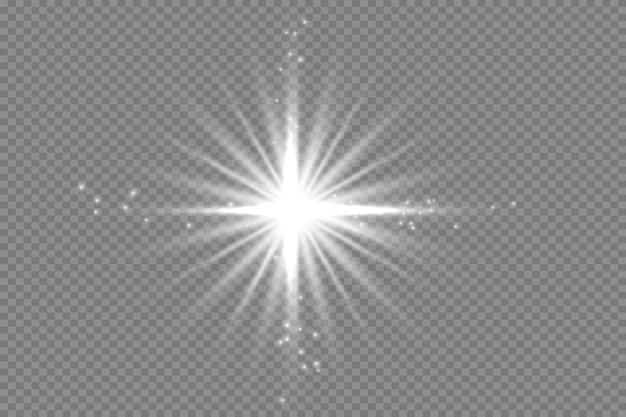 Uma luz branca brilhante explode em um fundo transparente. partículas mágicas de poeira cintilantes