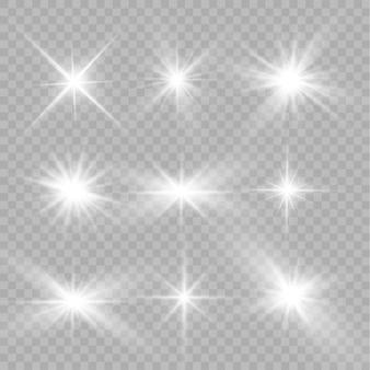Uma luz branca brilhante explode em um fundo transparente