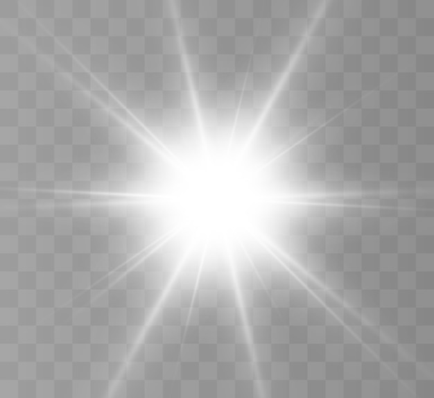 Uma luz branca brilhante explode em um fundo transparente.