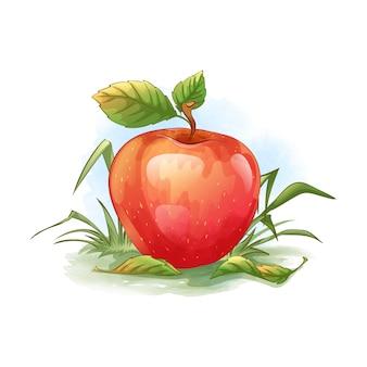 Uma maçã vermelha madura encontra-se na grama verde. folhas de outono caídas.