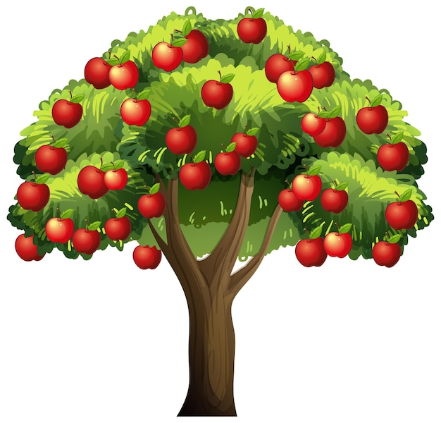 Uma macieira isolada no branco