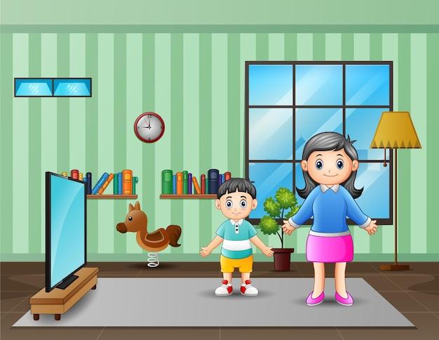 Uma mãe e um filho na ilustração da sala de tv
