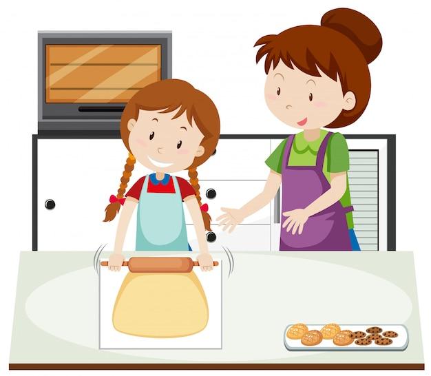 Uma mãe ensina a filha a assar