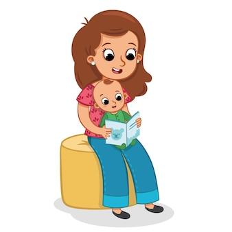 Uma mãe lê uma história para seu bebê. ilustração vetorial