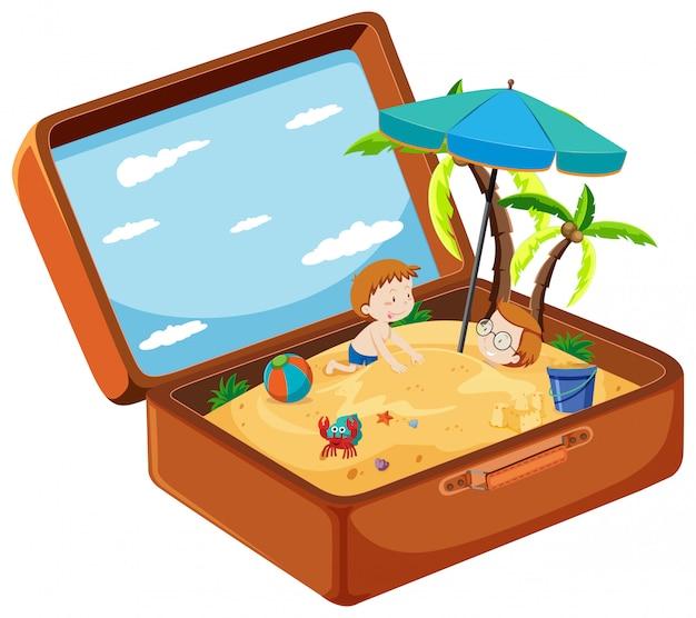 Uma mala na praia de verão