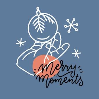 Uma mão de criança pequena segurando uma ilustração vetorial linear de bola de natal de decoração com letras quo ...