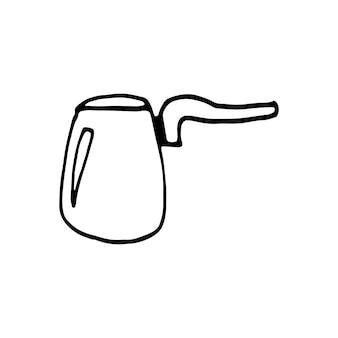 Uma mão desenhada turk para café, chocolate, cacau, americano ou cappuccino. ilustração do doodle.