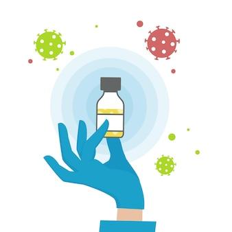 Uma mão em uma luva médica segura um frasco da vacina contra o coronavírus. uma vacina válida.