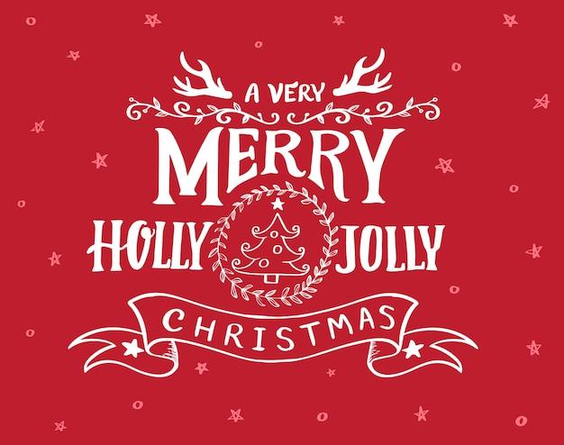 Uma mão muito feliz holly jolly christmas desenhada