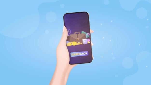 Uma mão segura um telefone com um aplicativo de pagamento. botão de pagamento. cartão de crédito, moedas de ouro, dólares. conceito de compras e pagamento online. vetor.
