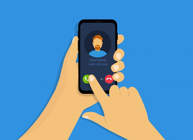 Uma mão segura um telefone com uma chamada recebida. interface de chamada recebida no estilo cartoon.