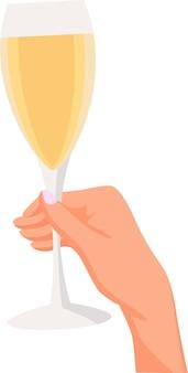 Uma mão segura uma taça de champanhe com vinho branco em um fundo branco espaço para texto