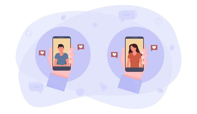 Uma mão segurando o smartphone com o aplicativo de namoro. uma menina e um menino enviando mensagens de amor.