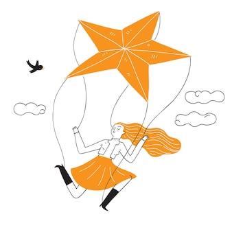 Uma marionete de menina é interpretada por uma estrela laranja. ilustração em vetor desenhada à mão