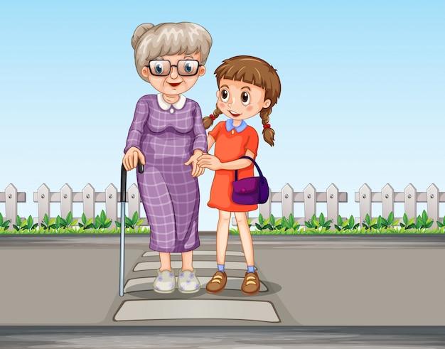 Uma menina ajudando a avó a atravessar a estrada