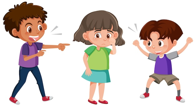 Uma menina chorando porque dois meninos a intimidando com verbais
