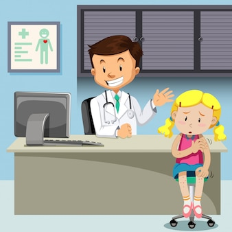 Uma menina com catapora encontrar médico