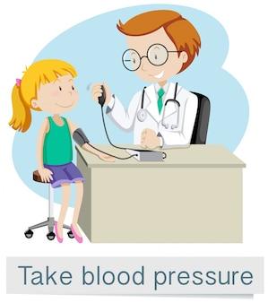Uma menina com médico tomar pressão arterial
