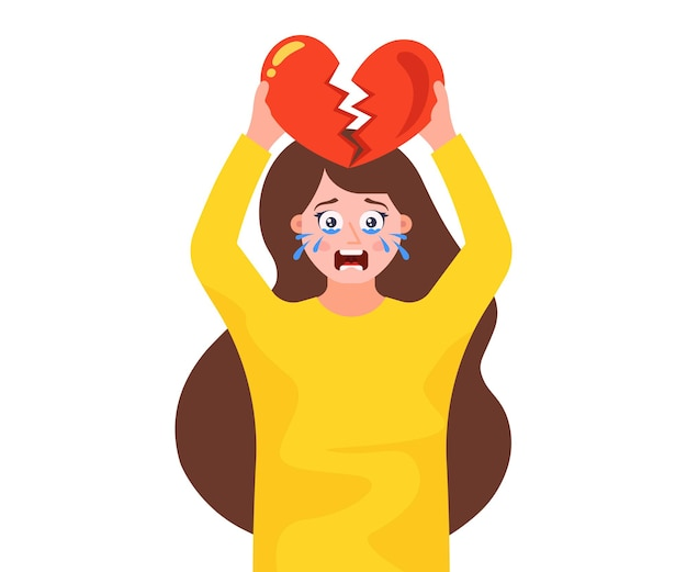 Uma menina com o coração partido está de pé e chorando. rompendo um relacionamento romântico.