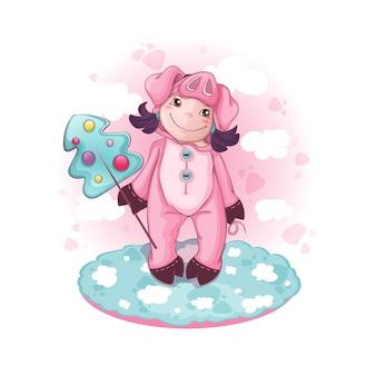 Uma menina com uma fantasia de porco está segurando um pirulito grande
