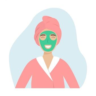 Uma menina com uma toalha na cabeça e uma máscara
