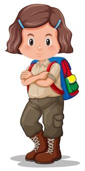 Uma menina com uniforme de escoteiro