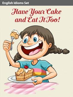 Uma menina comendo um bolo